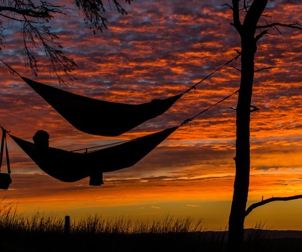 In order to reduce stress we often do things like lie in a hammock. This is a shot of two such hammocks at sunset between two trees in Glasgow.