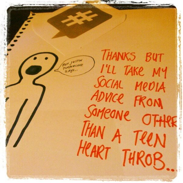 Thanks but I'll take my social media advice from someone other than a teen heart throb...