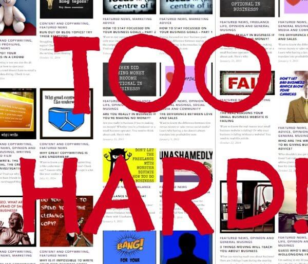 Blogging - Too hard!