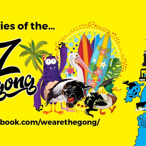 The A to Z of Wollongong podcast banner features a shot of the Illawarra coastline with notable suburbs such as Bulli, Windang, Scarborough, Kiama and Wollongong featured