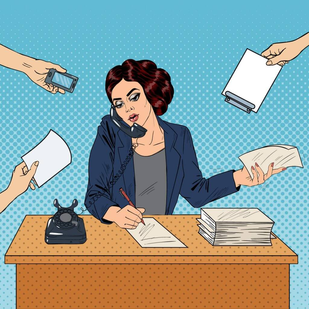 Business woman being handed paperwork from every direction