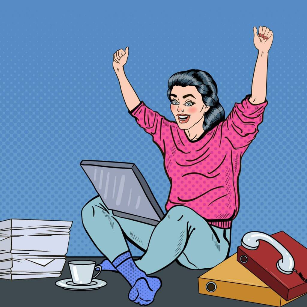 Exited Woman on Laptop