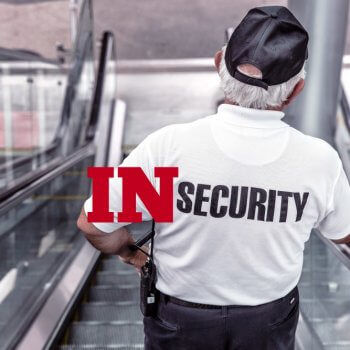 Photo of a security guard in a white tee shirt reading security that has been modified to say INsecurity to demonstrate internet shame