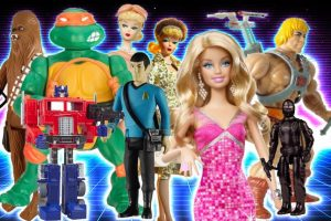 Toys that Made us featured content all displayed together in a huddle including Barbie, Star Trek dolls, Ninja Turtles, He Man and Chewy from Star Wars.