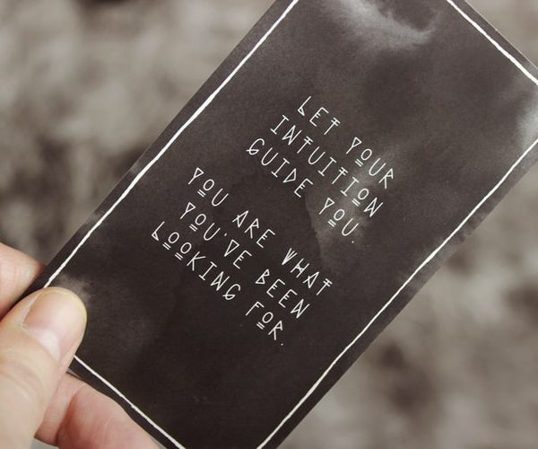 A leaflet reads let intuition guide you. you are what you have been looking for. It sounds like a suitably business coaching wanky thing to say.